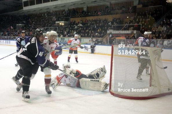 RIGA, LATVIA - DECEMBER 9, 2004. Defenseman Rhett Warrener #44 of the Worldstars scores against Riga 2000 at the Rigas Sporta Pils in Riga, Latvia. The Worldstars defeated Riga 4-2.jpg