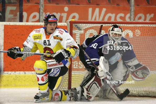 BERN, SWITZERLAND - DECEMBER 15, 2004. Goalie Martin Brodeur #30 of the Worldstars protects the net from SC Bern at Bern Arena. The Worldstars won 7-6.jpg