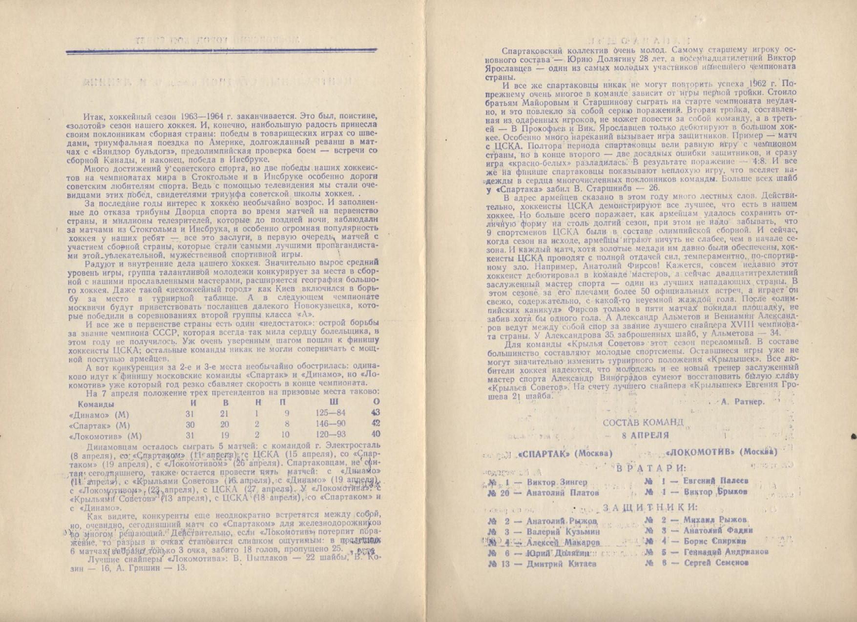 сезон 1963-1964 программки Спартак -Локомотив ЦСКА - Крылья 8-9 апреля-2.jpg