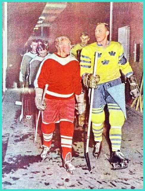 24 ноября 1959 года, товарищеский матч СССР - Швеция, Николай Сологубов беседует со шведским хоккеистом!.jpg