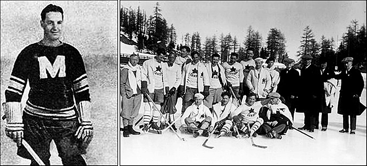 Слева - Дэвид Томас Троттье. Справа - он же в составе сборной Канады на Олимпиаде-1928 в Санкт-Морице.jpg
