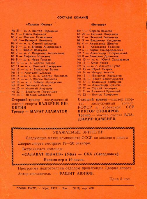 1976.10.01-02. Салават Юлаев, Уфа - Бинокор, Ташкент (Чм. СССР, 1 лига)_04.png