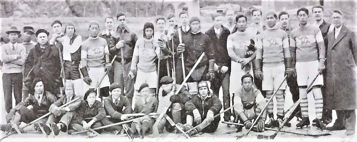 American and Korean hockey teams meeting in Pyongyang, on the frozen Taedong River, in 1933..jpg